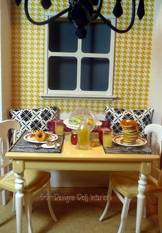 Sunny breakfast room. In the Barbie house 1:6 Scale Kitchen Dining