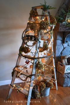 Treeless Stepladder Christmas tree via http://www.funkyjunkinteriors.net/