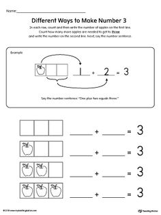 **FREE** Different Ways to Make Number 3 Printable Worksheet Worksheet.Use a frame of three squares with apples as counters to identify the different ways to make the number three in this printable worksheet. This is a great activity to understand how to compose and decompose the number three.