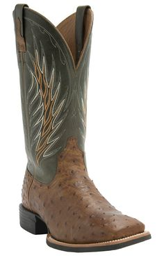 Ariat® Men's Yuma Tan Full Quill Ostrich with Cactus Green Top Double Welt Square Toe Cowboy Exotic Boots