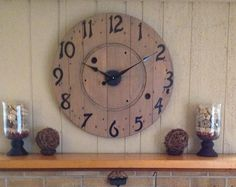 Reclaimed Round Wood Electric Spool Clock 27 Inches Wide with Metal Numbers Shabby Chic by luv4sams on Etsy
