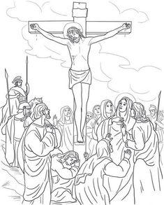 Jesus Dies on the Cross coloring page Free Printable Coloring Pages with Coloring Pages Of Jesus On The Cross Cross Coloring Page, Jesus Coloring Pages, People Coloring Pages, Free Printable Coloring Pages, Coloring Book Pages, Coloring Pages For Kids, Coloring Sheets, Colouring, Free Bible Images