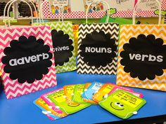 Cool idea to use at any grade...bags with parts of speech...could put words on index cards...make a game of it and race. Add infinitives, gerunds and participles to meet my 8th grade standards