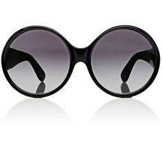 Saint Laurent Women's SL M1 Sunglasses ($415) ❤ liked on Polyvore featuring accessories, eyewear, sunglasses, no color, yves saint laurent, logo sunglasses, oversized round sunglasses, oversized eyewear and yves saint laurent sunglasses