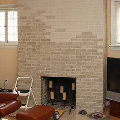 Great idea from Lowes about how to paint out-dated brick, simple solution
