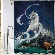 Dragon and unicorn Shower Curtain