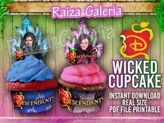 Disney Descendants Awesome Cupcake Toppers abd Wrappers, Descendants Birthday Party Supplies, Cupcake, Cupcake Toppers, Descendants Party by RaizaysuGaleria on Etsy https://www.etsy.com/listing/247997750/disney-descendants-awesome-cupcake