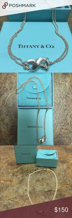 Authentic Silver Tiffany Infinity Pendant Necklace Authentic Tiffany Infinity Pendant Necklace. Sterling Silver, Double Chains, Infinity Pendant, 16 Inches. Pre-Loved. Comes With Box & Pouch. Reputable Seller! Tiffany & Co. Jewelry Necklaces