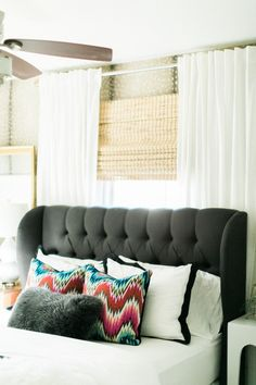Love this upholstered headboard | theglitterguide.com
