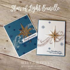 Holly's Hobbies: Star of Light - here is a brand new bundle from @stampinup called Star of Light that really shines!  Paired with the new Copper Foil sheets and Dapper Denim - you have 2 beautiful Christmas cards! #TGIFC68 #stampinup #staroflight