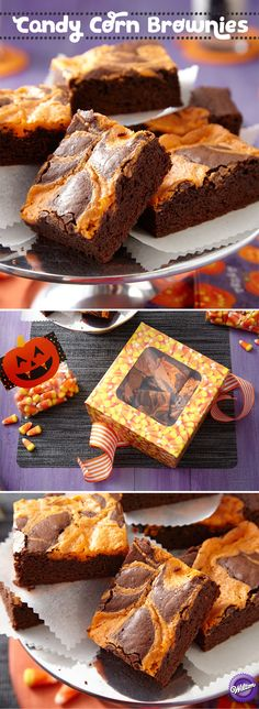 Mix things up for Halloween. Serve Candy Corn-flavor infused brownies swirled to create the iconic orange and black Halloween color combo.