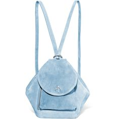 Manu Atelier Fernweh suede backpack ($400) ❤ liked on Polyvore featuring bags, backpacks, backpack, blue, blue suede bag, zip bag, suede leather bag, day pack backpack and blue backpack