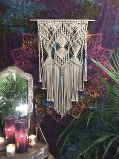 Large Macrame Wall Hanging with Silver Beads.  This beautiful wallhanging is adorned with silver beads and will gently grace your wall with a bohemian look. Imagine how awesome it would look wonderful hung outside as garden art! And of course beautifully In your home as a wall tapestry.  Handmade and original design by Lucy Lanuza    Pearl beige polyester Macrame cord  Size is approximately: Wooden dowel length- 24 Macrame width- 19 Macrame length- 38   Made to order ...