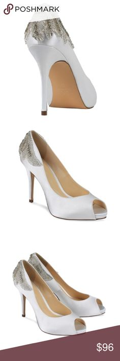 """Ivory Satin Peep Toe Pump w/ Bead Appliqué These are elegant heels for dressy occasions. Ivory or pearly white color. Perfect for a wedding, prom, or similar occasion of importance! The vintage-inspired embellishment makes it unique, gorgeous, and would definitely make heads turn!! Satin upper, genuine leather lining and genuine leather sole. Perfect height—not too tall, not too short: 3.75"""" MAKE AN OFFER 🙂 Pink Paradox London Shoes Heels"""