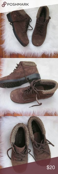 Suede Leather Sweater Lace Up Boots 7.5W Gently worn - lots of life left. A couple small scuffs to leather. Reflected in price. Size 7.5W.  Bundle for best deals! Hundreds of items available for discounted bundles! You can get lots of items for a low price and one shipping fee!  Follow on IG: @the.junk.drawer predictions Shoes Winter & Rain Boots