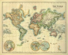 World map  Old map restored  30 x 24.5  Print by AncientShades, $46.00