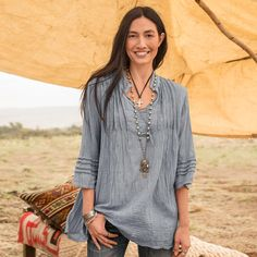 ARTS and LETTERS TUNIC - Leave your mark in this oh-so-pretty V-neck, crinkle cotton, boho chic tunic from Sundance catalog.