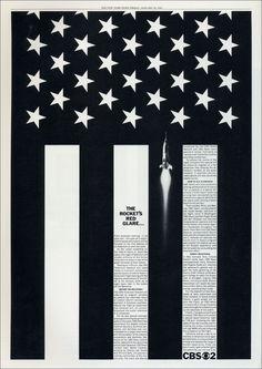 newspaper ad showcasing the CBS News coverage of the John Glenn space flight by Lou Dorfsman (1962)
