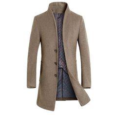 ZA194 Grey L Also Easy wool long coat men warm black business overcoat mens Stylish woolen jacket Parka EU size S-4XL