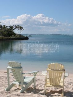 Serenity in Beach Chairs (Painted Pastel Adironacks for Two, Abaco, Bahama Out Islands) Beach is my Happy Place Seaside Hope Town
