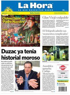 Chávez tiene su 'Padre Nuestro', Glas Viejó culpable, El Telégrafo admite sus 'momentos complicados', Duzac ya tenía historial moroso, y Asamblea aprueba Código Monetario.