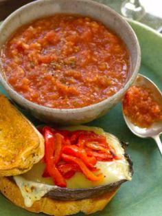 Mozzarella Mushroom Burger & Gazpacho