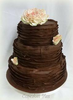 chocolate ruffle wedding cake