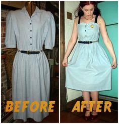 Craft, Thrift, or Die: thrift store dress refashion, nautical
