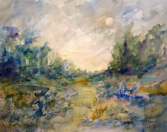 Watercolor Landscape archival print country landscape by RPeppers