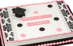 Simple and glamorous damask graduation sheet cake Happy Graduation Day, Preschool Graduation, Graduation Ideas, Graduation Caps, Congratulations Cake, Tiffany Cakes, Buttercream Fondant, Occasion Cakes, Girl Cakes