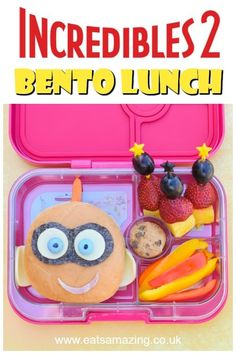 How to make a fun Incredibles 2 themed bento lunch box for kids with Jack-Jack sandwich - video tutorial and full instructions Bento Box Lunch For Kids, Bento Lunchbox, Lunch Ideas, Food Art For Kids, Cooking With Kids, Easy School Lunches, Box Lunches, Easy Packed Lunch, Food Themes