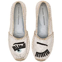 Chiara Ferragni Espadrille ($335) ❤ liked on Polyvore featuring shoes, sandals, flats, platform shoes, glitter shoes, glitter platform sandals, slip on shoes and espadrille sandals