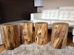 Wood Stump Side Tables Stump End Tables Stump by SerenityStumps