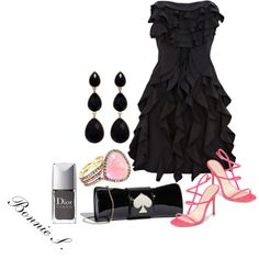 black & pink by bonnaroosky on Polyvore featuring moda, Jean-Michel Cazabat, Kate Spade, Amrita Singh, Leyla Abdollahi, Christian Dior, party dress, evening, heels and black