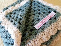 Granny Square Linen Baby Blanket: Linen/Cotton