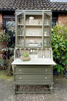 Bureau bookcase, in Annie Sloan& Olive and Country Grey, by Imperfectly Per. Refurbished Furniture, Repurposed Furniture, Rustic Furniture, Furniture Makeover, Vintage Furniture, Cool Furniture, Kitchen Furniture, Dresser Makeovers, Furniture Dolly