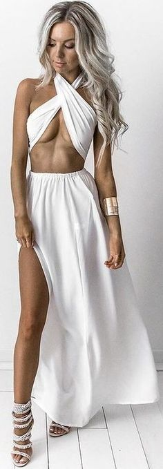 #summer #feminine #outfits | Ivory Diamond Two Piece Gown