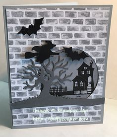 Halloween Night Earlier today, I posted a template you can use to make cards using the fabulous Designer Series Paper (DSP) from Stampin' Up! In case you missed it, here's the template. Halloween Greetings, Halloween Tags, Halloween Scene, Halloween Crafts, Thanksgiving Cards, Holiday Cards, Card Making Inspiration, Making Ideas, Buffy