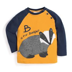 Boys' B is for Badger Applique Top   JoJo Maman Bebe