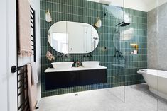 The Block 2020: Master Ensuite Reveals The Block Bathroom, The Block Australia, Pink Towels, Curved Walls, Terrazzo Flooring, Shower Screen, White Tiles, Green Tiles, Glass House