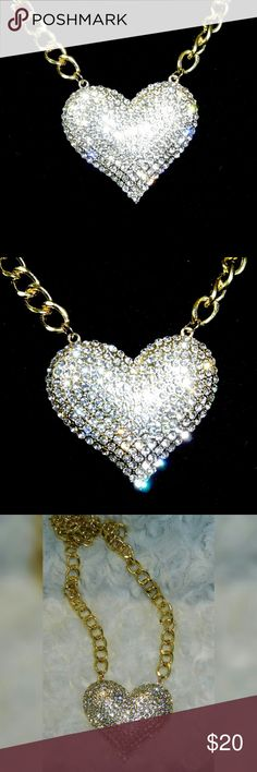Blazing Crystal Heart Choker Necklace Beautiful bling.  Gold plated.  crystal pave.  45 cm twist link chain. Jewelry Necklaces