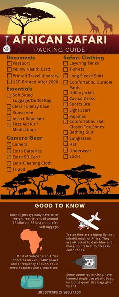 We break down everything you need for a safari no matter if you need a two day or two week safari packing list. From weight limits on bush flights to what you need and exactly how many pants, shirts and shoes to bring, this African safari packing guide is Holiday Packing List Kids, Holiday Essentials List, Travel Essentials, Packing Tips, Travel Packing, Packing Shoes, Airline Travel, Travel Tourism, Seychelles
