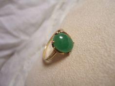 Fantastic Vintage Genuine Jade & 10k Gold Ring by GranvilleGallery, $99.00-SOLD-