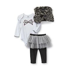 Baby Glam- -Infant Girl's Bodysuit, Vest & Tutu Pants - Metallic Bow