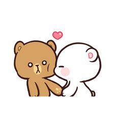 Milk & Mocha's creators on making the most romantic app stickers ever Cute Anime Cat, Cute Bunny Cartoon, Cute Cartoon Pictures, Cute Love Pictures, Cute Love Memes, Cute Love Gif, Cute Love Cartoons, Cute Cat Gif, Bear Gif