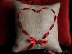 Burlap and heart pillow DIY -- So cute! Valentine Love, Valentine Crafts, Valentines, Valentine Pillow, Burlap Pillows, Throw Pillows, Cute Crafts, Diy Crafts, Sewing Crafts