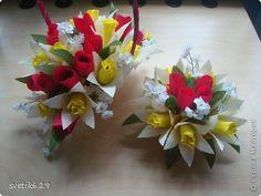 Мастер-класс, Свит-дизайн Бумагопластика: МК Тюльпаны и нарциссы  Бумага гофрированная 8 марта. Фото 1