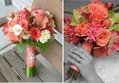 Ramos de novia en color coral