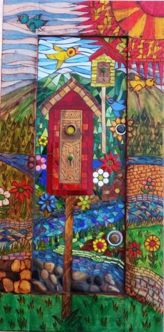 Mosaic and woodburned wall hanging Homes for Wrent. by MosaicBreak