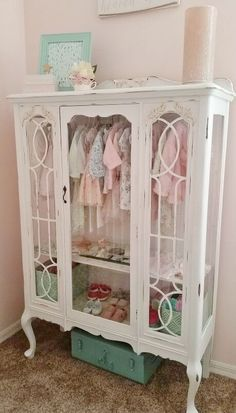 Re-Purposed Antique Hutch Becomes Baby Wardrobe